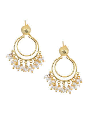 Gold Tone Silver Earrings with Pearls