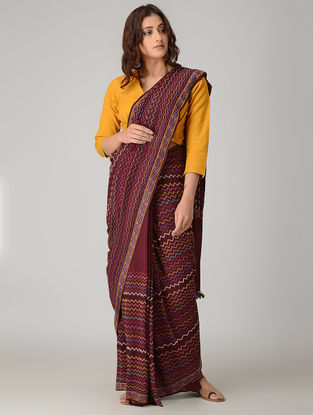 Maroon-Yellow Suf-embroidered Silk Saree with Tassels