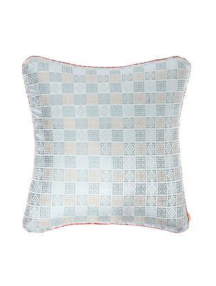 Grey-Pink Brocade Silk Cushion Cover (18in x 18in)