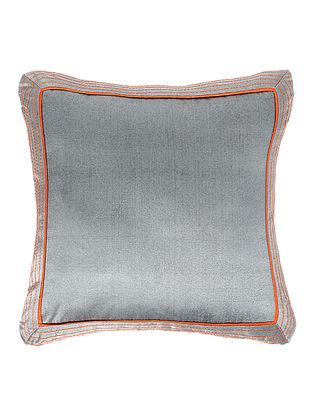 Grey-Orange Brocade Silk Cushion Cover (18in x 18in)