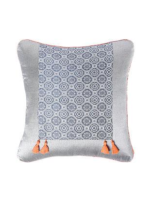 Grey-Orange Brocade Silk Cushion Cover with Tassels (18in x 18in)