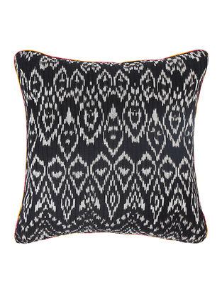 Grey-Orange Brocade and Ikat Silk Cushion Cover (18in x 18in)