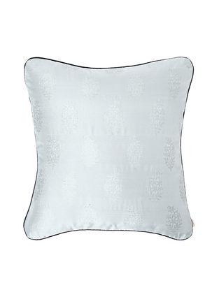 Grey-Black Brocade Silk Cushion Cover (18in x 18in)