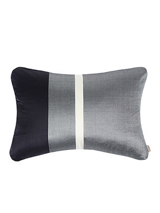 Grey-Black Brocade Silk Cushion Cover (20in x 14in)