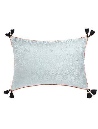 Black-Orange Brocade Silk Cushion Cover with Tassels (20in x 14in)
