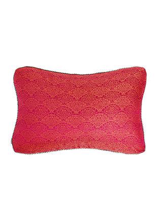 Orange-Grey Brocade Silk Cushion Cover (20in x 14in)