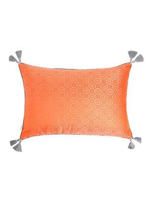 Orange-Grey Brocade Silk Cushion Cover with Tassels (20in x 14in)