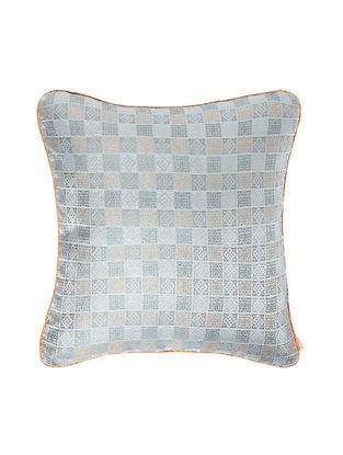 Grey-Orange Brocade Silk Cushion Cover (20in x 20in)