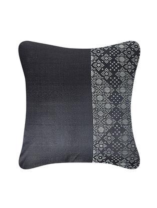 Grey Brocade Silk Cushion Cover (20in x 20in)