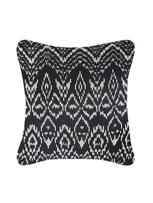 Grey-Black Brocade and Ikat Silk Cushion Cover (20in x 20in)