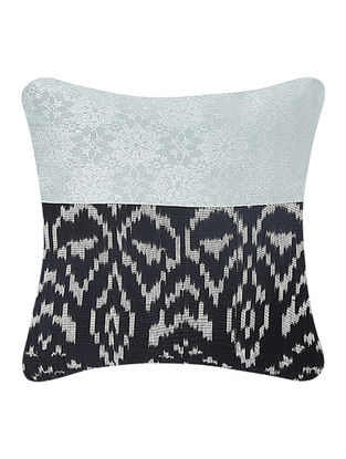 Grey-Black Brocade and Ikat Silk Cushion Cover (12in x 12in)