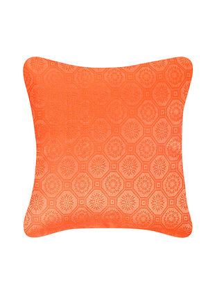 Grey-Orange Brocade Silk Cushion Cover (12in x 12in)