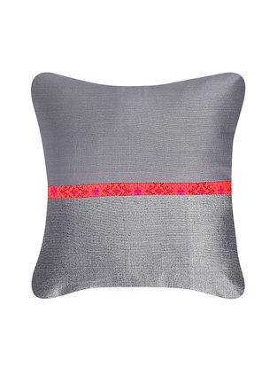 Grey-Pink Brocade Silk Cushion Cover (12in x 12in)