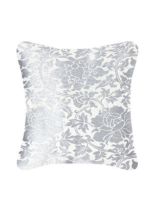Grey-Black Brocade Silk Cushion Cover (12in x 12in)
