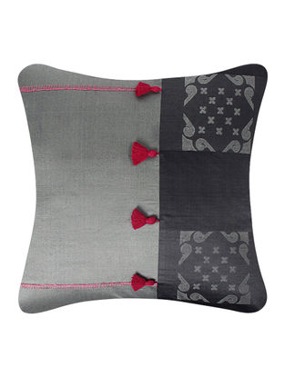 Grey-Pink Brocade Silk Cushion Cover with Tassels (24in x 24in)
