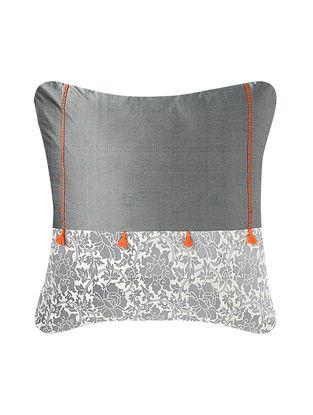 Grey-Orange Brocade Silk Cushion Cover (24in x 24in)