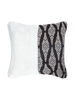 Grey-Black Brocade Silk Cushion Cover (24in x 24in)