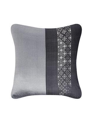Grey Brocade Silk Cushion Cover (24in x 24in)