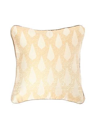 Beige-Blue Brocade Silk Cushion Cover (18in x 18in)