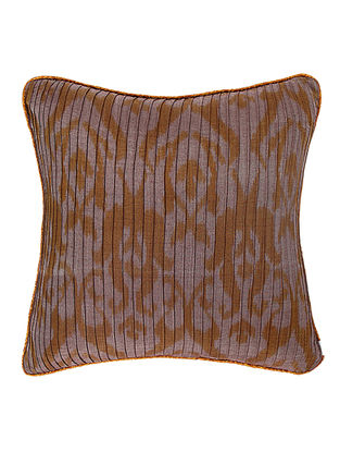 Grey-Blue Brocade and Ikat Silk Cushion Cover (18in x 18in)