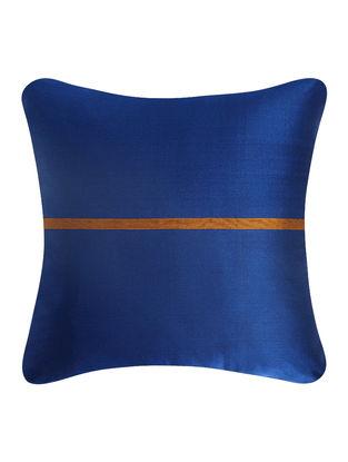 Blue-Golden Brocade Silk Cushion Cover (18in x 18in)