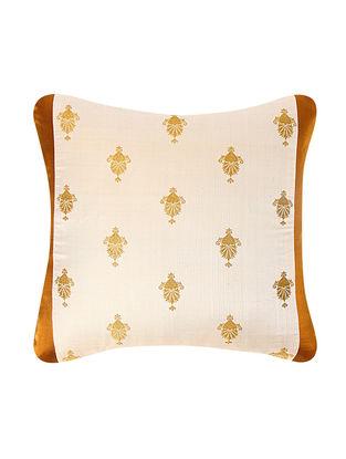 Beige-Golden Brocade Silk Cushion Cover (18in x 18in)