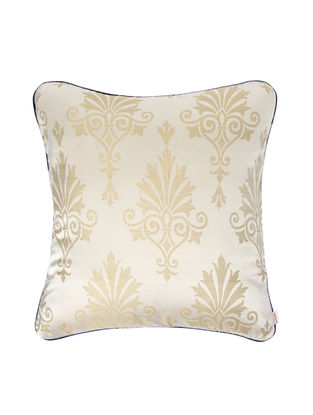 Ivory-Blue Brocade Silk Cushion Cover (18in x 18in)