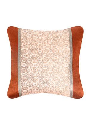 Rust-Beige Brocade Silk Cushion Cover (18in x 18in)