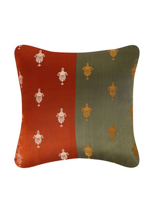 Rust-Olive Brocade Silk Cushion Cover (18in x 18in)