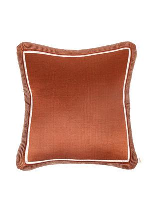 Rust-Golden Brocade Silk Cushion Cover (18in x 18in)