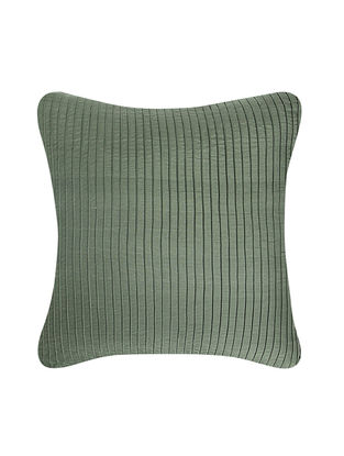 Green-Beige Brocade and Ikat Silk Cushion Cover (18in x 18in)