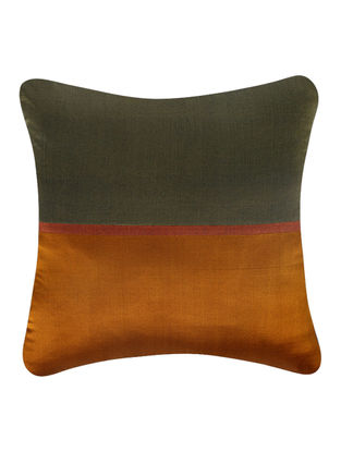Olive-Rust Brocade Silk Cushion Cover (18in x 18in)