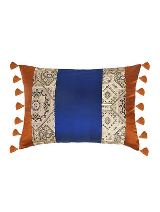 Blue-Golden Brocade Silk Cushion Cover with Tassels (20in x 14in)