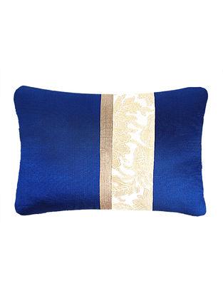 Beige-Blue Brocade Silk Cushion Cover (20in x 14in)