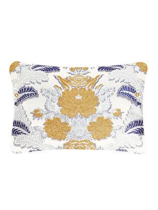Blue-Golden Brocade Silk Cushion Cover (20in x 14in)