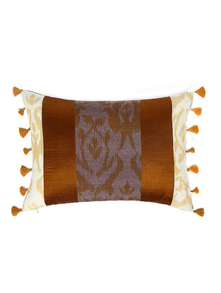 Grey-Beige Brocade and Ikat Silk Cushion Cover with Tassels (20in x 14in)