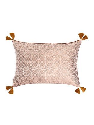 Beige-Golden Brocade Silk Cushion Cover with Tassels (20in x 14in)
