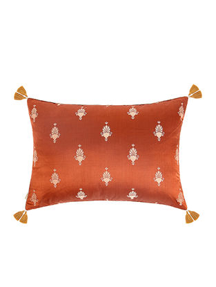 Rust-Golden Brocade Silk Cushion Cover with Tassels (20in x 14in)