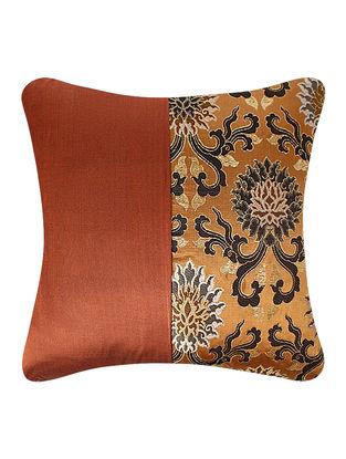 Rust-Golden Brocade Silk Cushion Cover (24in x 24in)