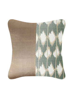 Multicolored Brocade and Ikat Silk Cushion Cover (24in x 24in)