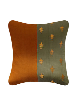 Golden-Olive Brocade Silk Cushion Cover (24in x 24in)