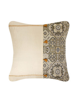 Beige-Blue Brocade Silk Cushion Cover with Tassels (24in x 24in)