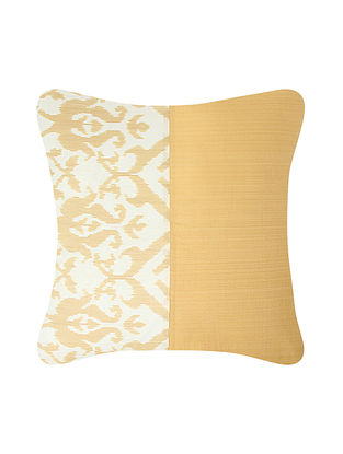 Beige-Golden Brocade and Ikat Silk Cushion Cover (24in x 24in)