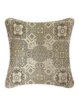 Beige-Golden Brocade Silk Cushion Cover (24in x 24in)