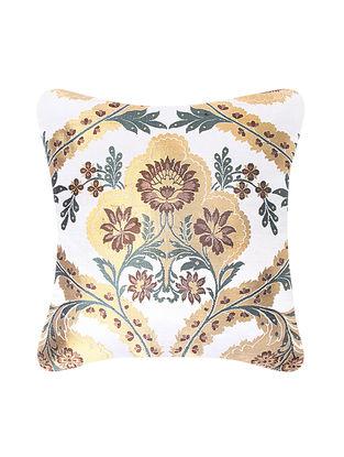Golden-Multicolored Brocade Silk Cushion Cover (20in x 20in)