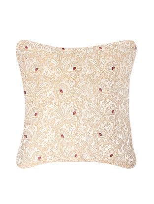 Beige-Blue Brocade Silk Cushion Cover (20in x 20in)