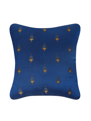 Blue-Golden Brocade Silk Cushion Cover (20in x 20in)