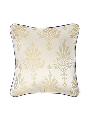 Ivory-Blue Brocade Silk Cushion Cover (20in x 20in)