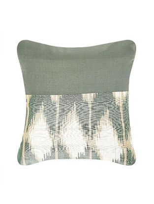 Green-Golden Brocade and Ikat Silk Cushion Cover (12in x 12in)