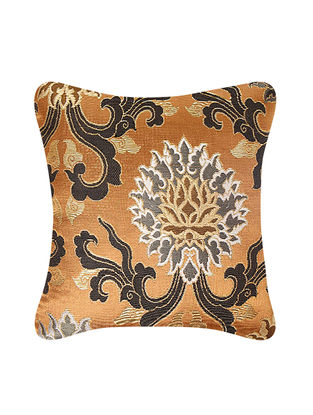 Golden-Ivory Brocade Silk Cushion Cover (12in x 12in)